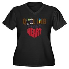 Quilting Women's Plus Size Dark V-Neck T-Shirt