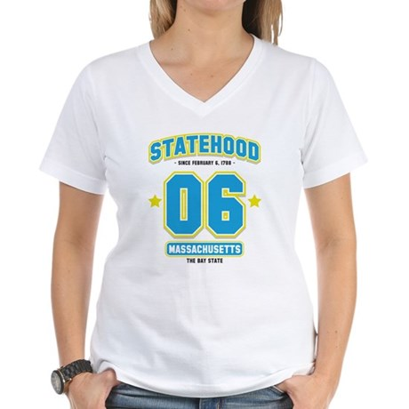 Statehood Massachusetts Women's V-Neck T-Shirt