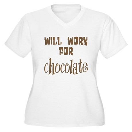 Work for Chocolate Women's Plus Size V-Neck T-Shir