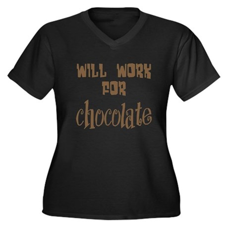 Work for Chocolate Women's Plus Size V-Neck Dark T