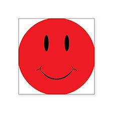 "Red Happy Face Square Sticker 3"" x 3"""