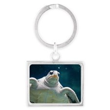 Close up of sea turtle in an aq Landscape Keychain