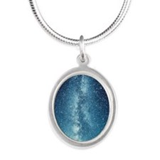 milky way Silver Oval Necklace
