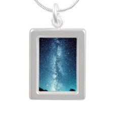 milky way Silver Portrait Necklace