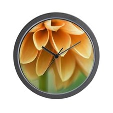 Closeup of orange Dalia flower petals. Wall Clock
