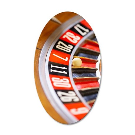 Close-up of roulette wheel 35x21 Oval Wall Decal
