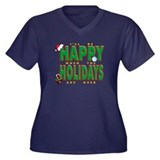 Happy Holidays Women's Plus Size V-Neck Dark T-Shi