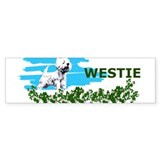 westie in clover Bumper Car Sticker