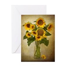 Digital composite of a vase of sunfl Greeting Card