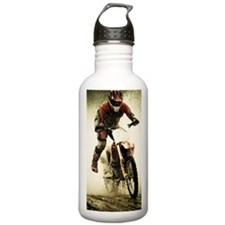 Dirt bike rider splash Water Bottle