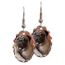 Dog on top of laundry Earring Oval Charm
