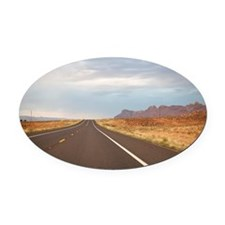 Driving at sunset from Grand Canyo Oval Car Magnet