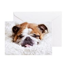 English bulldog sleeping in cute and Greeting Card