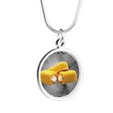 Remember The Twinkies Silver Round Necklace
