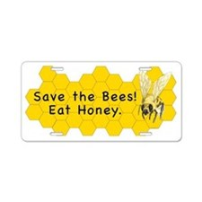 Save the Bees! Eat Honey. Aluminum License Plate