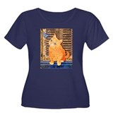 Quizzical Kitten Women's Plus Size Scoop Neck Dark
