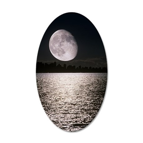 Waning gibbous moon 35x21 Oval Wall Decal