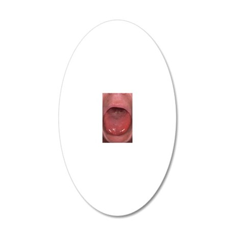 Tongue showing the presence  20x12 Oval Wall Decal