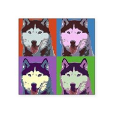 "Husky Pop Art Square Sticker 3"" x 3"""