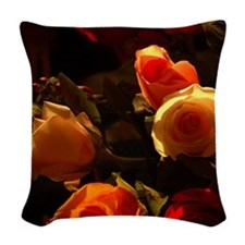 Roses I - Orange, Red and Gold Woven Throw Pillow