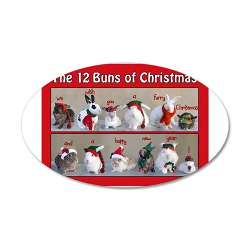 Twelve Buns of Christmas 35x21 Oval Wall Decal