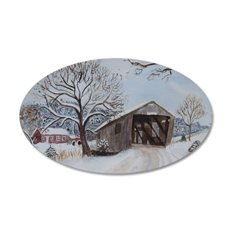 Covered Bridge 35x21 Oval Wall Decal