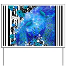 Peacock Blue Garden Stripe Case Yard Sign