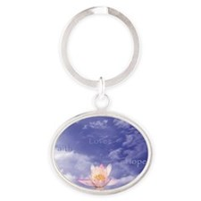 Sq-WORDS-Zen Lily Floating in Clouds Oval Keychain