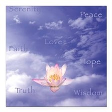 "Sq-WORDS-Zen Lily Floati Square Car Magnet 3"" x 3"""