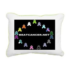 BEATCANCER.NET Glass Cut Rectangular Canvas Pillow