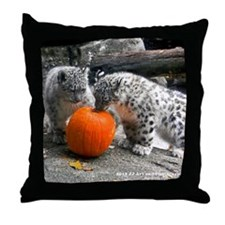 Snow Leopard and Pumpkin Throw Pillow