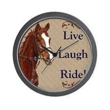Live! Laugh! Ride! Horse Wall Clock
