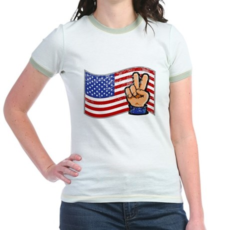 Patriotic Peace Hand Jr. Ringer T-Shirt
