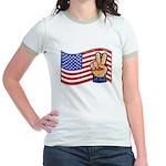 Patriotic Peace Hand Jr. Ringer T-Shirt