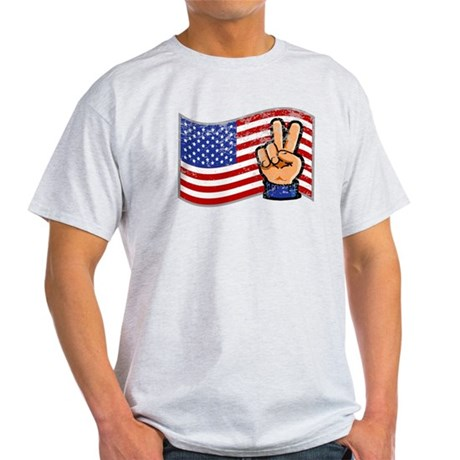 Patriotic Peace Hand Light T-Shirt