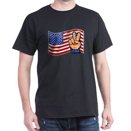 Patriotic Peace Hand Dark T-Shirt
