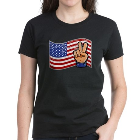 Patriotic Peace Hand Women's Dark T-Shirt
