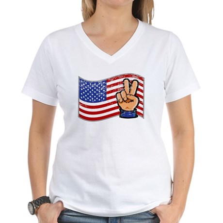 Patriotic Peace Hand Women's V-Neck T-Shirt