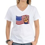 Patriotic Peace Hand Women's V-Neck T-Shirt