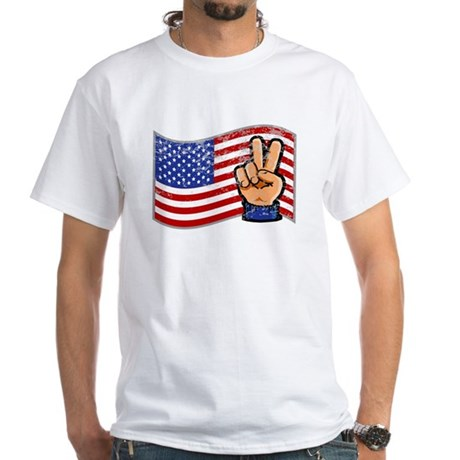 Patriotic Peace Hand White T-Shirt