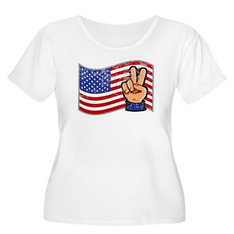 Patriotic Peace Hand Women's Plus Size Scoop Neck