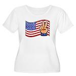 Patriotic Peace Hand Women's Plus Size Scoop Neck