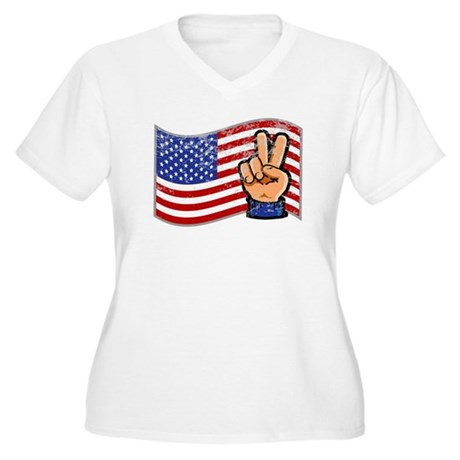 Patriotic Peace Hand Women's Plus Size V-Neck T-Sh