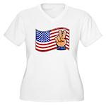 Patriotic Peace Hand Women's Plus Size V-Neck T-Sh