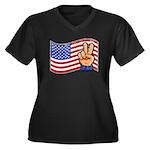 Patriotic Peace Hand Women's Plus Size V-Neck Dark