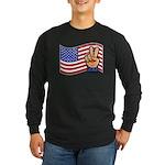 Patriotic Peace Hand Long Sleeve Dark T-Shirt