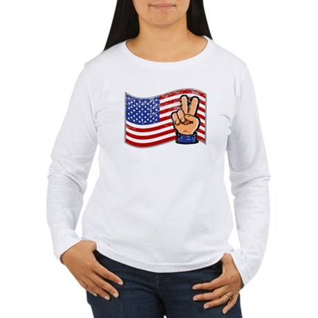 Patriotic Peace Hand Women's Long Sleeve T-Shirt
