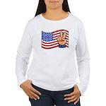 Patriotic Peace Hand Women's Long Sleeve T-Shirt