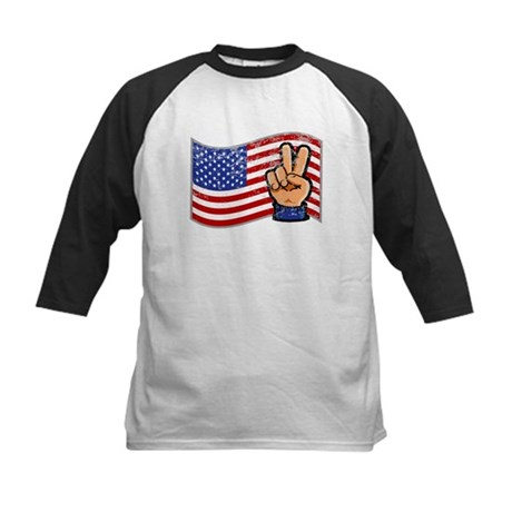 Patriotic Peace Hand Kids Baseball Jersey