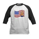 Patriotic Peace Hand Kids Baseball Jersey